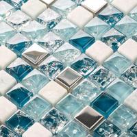 Crackle glass stone glass mosaic backsplash tile kitchen bathroom mirror shower wall stickers blue metal stone glass tiles uk