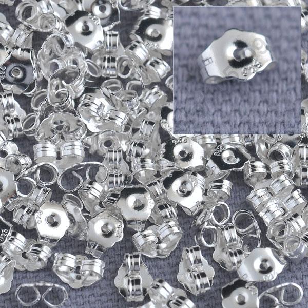 bulk 1000 stück original fine 925 sterling silber schmuckzubehör zurück stopfen für Bolzen pin schmuck Einstellungen 925 logoprägung