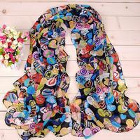 Min.order is $5(mix order) 2014 cartoon figure fashion South Park silk scarf woman 's cape plaid velvet chiffon scarf  80056