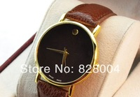 Fashion watch Pu watch quartz watch for women men Free Shipping Brown