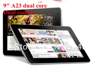 DHL Free Shipping 10 pcs/lot  9'' Allwinner A23 dual core dual Camera Android 4.4 512MB 8G capacitive screen Tablet PC
