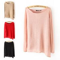 2014 New Women's Spring Ultra-thin Wool Acrylic Xiebian Sweater Irregular Sweep Hot Sale Free Shipping XTS011