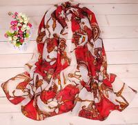 Min.order is $5(mix order) Cheap autumn silk scarf women's chiffon circle chain fashion design long cape scarf 80056