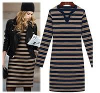 New 2014  fashion street style slim stripe knitted midguts plus size elegant   wholesale dress