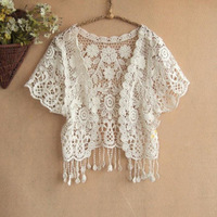 New 2014  japanese style short-sleeve lace crochet tassel cutout small vest shrug cape short jacke wholesale