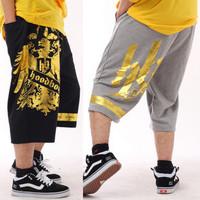 Plus size men's clothing health pants plus size plus size capris 100% cotton knee length trousers loose hip-hop sports trousers