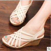 2014 spring platform wedges elastic strap sandals open toe high heel female shoes platform wedges platform