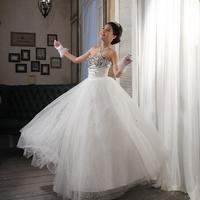 New 2014 fashion Super diamond wedding lace princess embroidery wedding dress acrylic free shipping