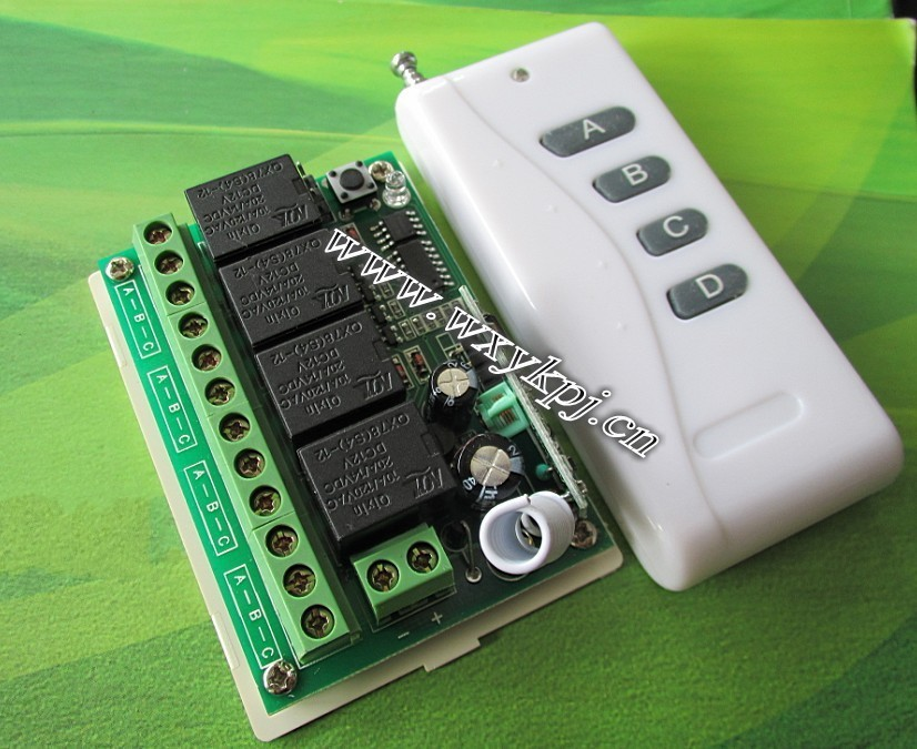 NEW ! Free Shipping 12 PCS 315MHz 433MHz DC 12V 10A 4CH Wireless Remote Control Switch System RF wall light switch(China (Mainland))