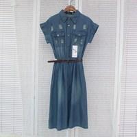 Hot sale good quality women turn down collar summer vest dress newest  woman denim dress with belt