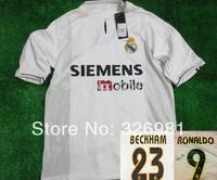 Free shipping real madrid retro 03/04 beckham/figo/raul/ronaldo/carlos soccer jerseys AnyNames