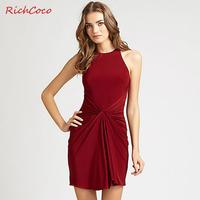 Fashion slim hip racerback sexy sleeveless vest pumping one-piece dress plus size female d002