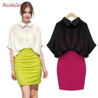 Fashion peter pan turn-down collar half sleeve chiffon patchwork faux two piece high waist one-piece dress  women's