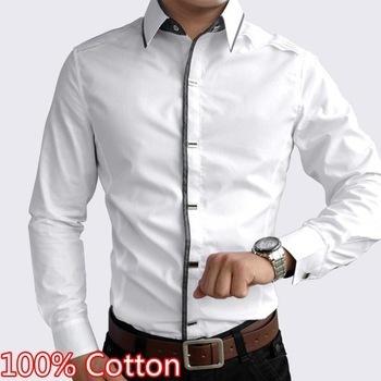 100% Хлопок Черный and Белый dress mens shirt Spring 2014 men's Длинный Рукав ...