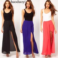 2014 new Placketing irregular skirt solid color chiffon bust skirt ultra long skirt