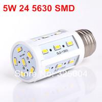 5W E27 24 5630 SMD 960LM 360 degree LED Corn Bulb 220V Warm White / White Energy Efficient led Light Lamp free shipping