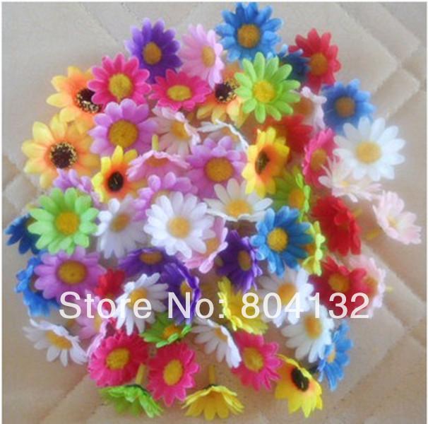 100Pcs/lot Handmade Artificial Silk Flowers Simulation Sunflower Little Daisy Chrysanthemum for DIY Hair Accessories corsage(China (Mainland))