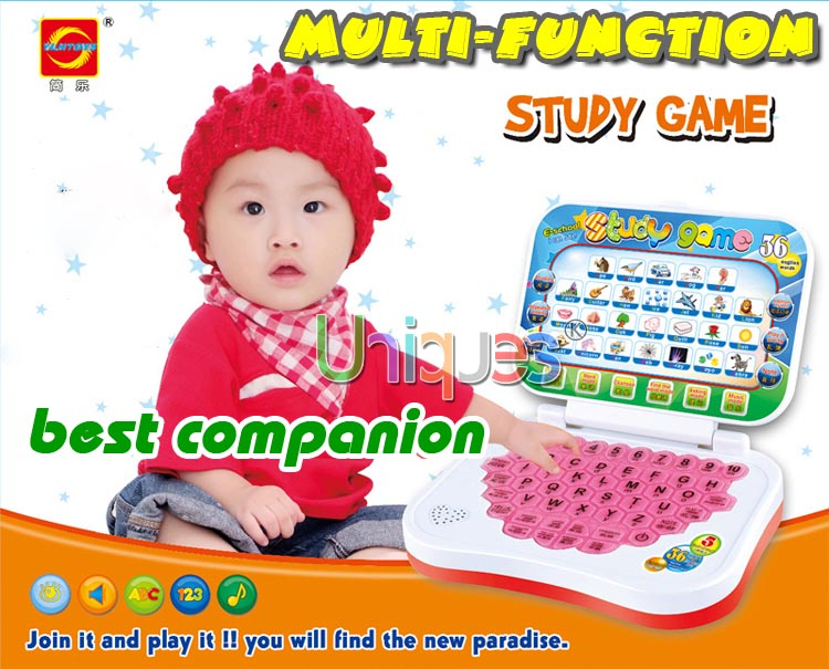 Kid Bilingual Learning Machine Baby Children Early Educational Electronic Toy Computer Notebook Tablet Laptop Study Game Pad(China (Mainland))