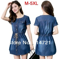 XXXXXL/XXXXL Denim/Jeans Dress for Summer Wear Big Size Women Clothes Plus Size Women's Clothing 5XL/4XL/XXXL/XL New 2014 Spring