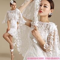 Cii luxury perspective soluble lace petal bridesmaid dress short paragraph dress costume cape