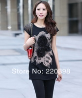 2014 Summer Short-Sleeve Floral Pattern Design Lady Tees Large Size M-3XL O-Neck Simple Style Female Tops  9081