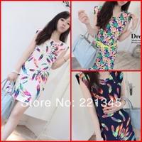 Small fresh 2014 preppy style slim hip ladies print sleeveless shoulder pads  chiffon one-piece dress