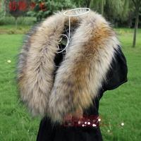 Large fox fur collar thickening fur faux false collar scarf raccoon fur muffler scarf cap