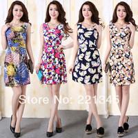 2014 plus size sleeveless print one-piece dress spaghetti strap milk silk one-piece dress tank dress