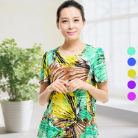 Goatswool 2014 summer quinquagenarian women's short-sleeve T-shirt mother clothing plus size fashion print fluid