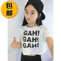 free shipping 2014 spring short design letter print loose short-sleeve pullover female t-shirt basic shirt female