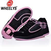 Ultra-light hlwg heelys wheelys adult child male Women automatic invisible button roller shoes