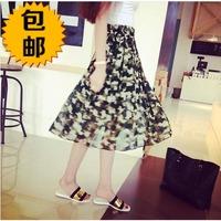 free shipping 2014 summer long design Camouflage chiffon skirt bust skirt pleated skirt