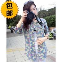 free shipping 2014 spring new arrival print denim shirt long-sleeve turn-down collar female shirt