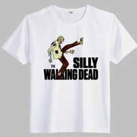 The Walking Dead 2014 Summer Men Classic Film Zombie Printed T-Shirt Fashion Casual T Shirt Solid Color Tees High Quality