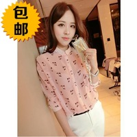 free shipping Top 2014 spring ladies elegant pink kitten chiffon shirt female shirt