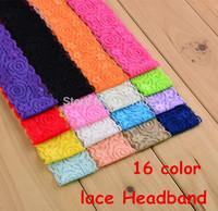 (24pcs/lot) Baby Headbands Hair Accessory Lace Flowers Wide Hair Bands 4*36cm Girls Headwear Children Accessories HD08
