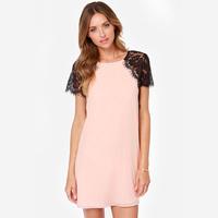 Fashion sweet  eyelash lace Pink dress  patchwork short-sleeve girl's summer dress Full sizes XS-XXL