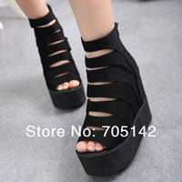 Free shipping! Fashion European style women/lady/madam sandal/shoes, soft hollow out design wedges/platform shoes in summer