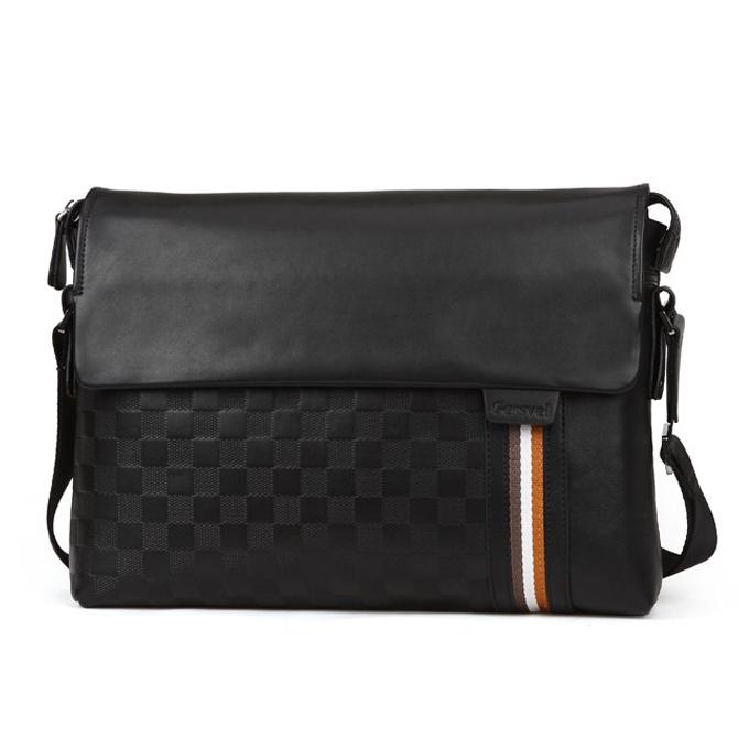 Man bag 2014 new plaid pu leather + cowhide shoulder bag fashion commercial men's messenger bag casual bags TS118A(China (Mainland))