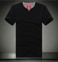 Plus size male short-sleeve plus size plus size oversized 8xl lycra cotton V-neck solid color short-sleeve T-shirt
