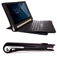 "PU Leather Case For 10"" Lenovo Yoga B8000 Wireless Removable Bluetooth Keyboard With Cover"