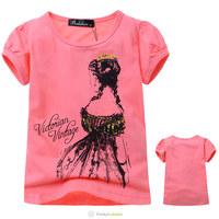 Wholesale 2014 Summer High Quality Girls Cotton Fashion Short Sleeve Tee Shirt Kids Cartoon Princess Printed T-Shirts 5 Pcs/Lot