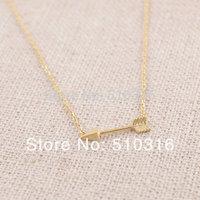 2015 Fashion Necklace 18K Gold/Silver Arrow Necklace Sideways Arrow Necklace