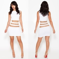 2014 women prom dresses sexy girl Bandage Bodycon Evening party white Dress Free shippingF8059