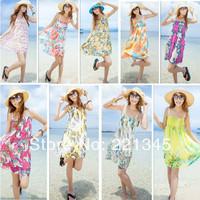 2014 women's one-piece dress slim spaghetti strap beach dress summer chiffon