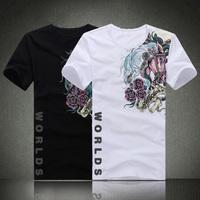 Summer short-sleeve 2013 men's clothing large plus size plus size plus size 8xl lycra cotton o-neck short-sleeve T-shirt horse