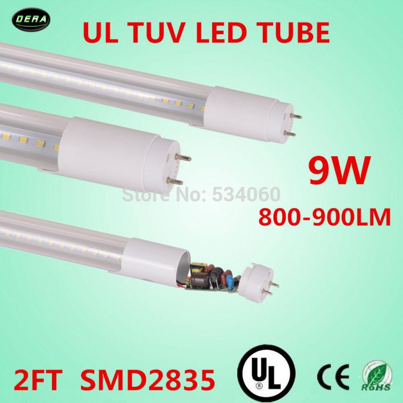 free shiping 60pcs/lot T8 UL led tube 9w UL TUV light 85-265v G13 2ft light bulb 800-900lm 600mm T8 ul led fluorescent lamp(China (Mainland))