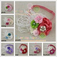 Children's fashion 2014 satin ribbon feather fascinator headband lace flower Bling Rhinestone headband Newborn headband 12pcs