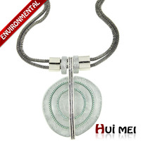 Free Shipping New Fashion Simple Floating Charms Round Shaped Magic Resin Silver Plated Pendants Double Chain Necklace Jewelry