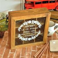 Free Shipping Zakka 9 glass print retro solid wood storage box finishing wooden box home jewelry box